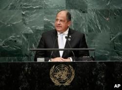 El presidente de Costa Rica en su último discurso a la Asamblea General de la ONU en Nueva York. Sep. 19 de 2017.