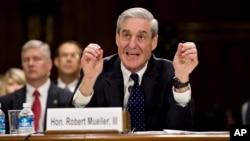 Then FBI Director Robert Mueller testifies on Capitol Hill in Washington, June 19, 2013, before the Senate Judiciary Committee.