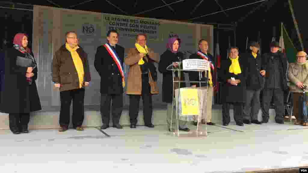 در این مراسم پیام مریم رجوی، رهبر سازمان مجاهدینخلق خوانده شد که در آن حکومت ایران را ناقض حقوق مردم ایران و تخریب کننده محیط زیست خواند.