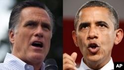 Ứng cử viên tổng thống Đảng Cộng hòa Mitt Romney (trái) và Tổng thống Barack Obama