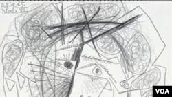 Sketsa pensil Picasso yang berjudul 'Tete de Femme' (dilukis tahun 1965) berhasil ditemukan kembali di Napa, Kalifornia (6/7).