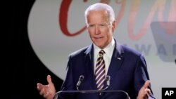 FILE - Former Vice President Joe Biden speaks at the Biden Courage Awards, March 26, 2019, in New York.