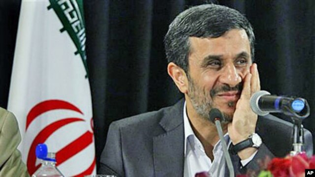 Iranian President Mahmoud Ahmadinejad, President of the Islamic Republic of Iran, listens during a press conference in New York, September 23, 2011.
