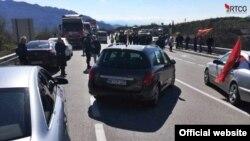 Protest na putu Nikšić - Podgorica ( Foto: Portal RTCG)