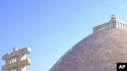 Ancient Buddhist stupas at Sanchi attract religious pilgrims to the Bhopal area.