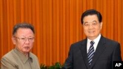 정상회담에 앞서 악수를 나누는 김정일 위원장(좌)과 후진타오 주석(자료사진)