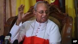 The archbishop of Colombo Cardinal Malcolm Ranjith addresses a press conference in Colombo, Sri Lanka, April 26, 2019.