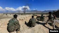 在阿富汗拉格曼省作战的阿富汗安全部队。(2017年3月1日)