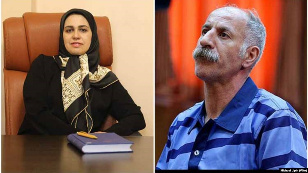 Iranian lawyer Zeynab Taheri and her client Mohammad Salas, a Dervish man executed by Iran on June 18, 2018 for allegedly killing three policemen. Rights groups said Salas professed innocence and was convicted unjustly.