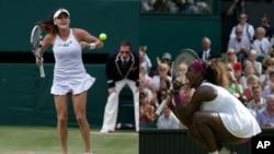 Agnieszka Radwanska and Serena Williams at Wimbledon