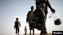 FILE - Ethiopian migrants walk on the side of a highway leading to the western Yemeni town of Haradh, March 28, 2012. Eighty-two Ethiopian migrants reportedly were unceremoniously dropped off last week in a small coastal town about 30 kilometers from Obock in Djibouti.