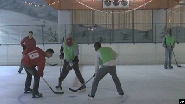 At the Solar Ice Rink in Nairobi, some young Kenyans are playing a new and exciting western game, ice hockey