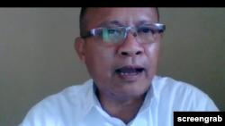 Ketua Sinode Gereja Kristen Sumba (GKS), Alfred Samani, dalam diskusi virtual mengenai praktik kawin paksa, Selasa, 7 Juli 2020. (Foto: Tangkapan layar)