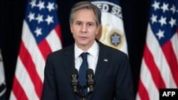 El secretario de Estado de EE.UU., Antony Blinken, se dirige al personal del Departamento de Estado de EE.UU., el 4 de febrero de 2021.