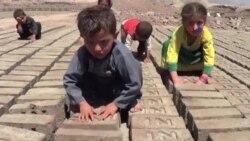 Əfqanıstanın kərpic zavodunda işləyən uşaqlar