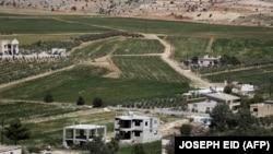 Një plantacion kanabisi duket në sfond në fshatin Yammouneh, Liban