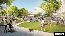 Ilustrasi arsitektur Willow Campus yang diusulkan Facebook tampak di Menlo Park, California, AS dalam foto tidak bertanggal yang diperoleh dari Reuters tanggal 7 Juli 2017 (Courtesy: Facebook/Rilis via REUTERS)