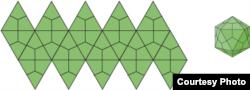 Xếp tam giác từ mặt phẳng thành hình cầu. (Hình: The Viral Zone, viralzone.expasy.org)
