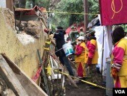 A view of a scene where rescuers searched for survivors after Tuesday's 7.1 earthquake in Mexico City, Mexico, Sept. 21, 2017. (C. Mendoza/VOA)