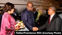 Président Félix Tshisekedi ya RDC (c) na molongani w aye Denis Nyakeru na bokomi na bango na Addis Abeba, Ethiopie, 8 février 2020. (Twitter/Présidence RDC)
