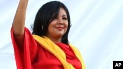 墨西哥城市长莫塔在其就职典礼上,向民众挥手(2016年1月1日)