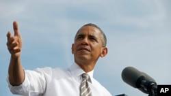 2013年10月3日,美国总统奥巴马在马里兰州发表讲话的照片。
