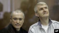 Michail Khodorkovsky and Platon Lebedev on October 2, 2010.