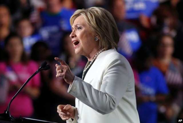 Democratic presidential candidate Hillary Clinton addresses supporters at her Super Tuesday election night rally in Miami, March 1, 2016.