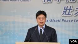 陸委會副主委邱垂正2017年6月8日在記者會上談台美關係 (美國之音記者申華 拍攝)