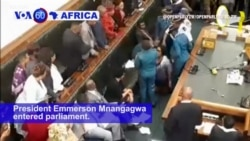 VOA60 Africa - Scuffle as Opposition MPs Removed from Zimbabwe's Parliament