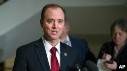 The House Intelligence Committee's ranking member Rep. Adam Schiff, D-Calif. speaks to reporters on Capitol Hill, March 7, 2017. As congressional investigations into Russia's interference in the 2016 election are ramping up, so is the political division,