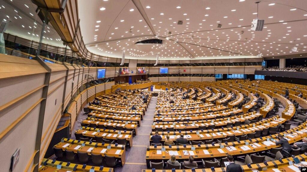 Toàn cảnh phòng họp Nghị viện châu Âu ở Brussels, Bỉ