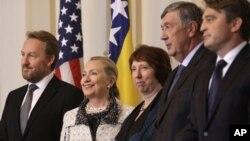 Državna sekretarka Hilari Klinton i visoka predstavnica EU Ketrin Ešton sa članovima Predsedništva BiH