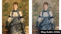 Картина Эдуарда Мане «Женщина в полосатом платье» до и после реставрации