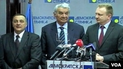 Predsednici Nove stranke, Bogate Srbije i Demokratske stranke: Zoran Živković, Zaharije Trnavčević i Dragan Đilas (s leva)