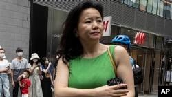 资料照:被中国当局拘押的澳籍华裔媒体人、中共央视英文频道CGTN的著名主持人成蕾 (2020年8月12日)