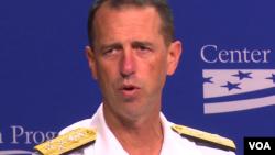 美國海軍作戰部長理查森上將2016年9月12日在美國策進中心講話 (美國之音黎堡攝)