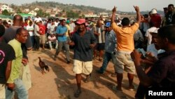 In this 2013 file photo, men cheer after winning a bet during the traditional Malagasy cockfighting (combat des coqs) contest in Ambohimangakely near Madagascar's capital Antananarivo.