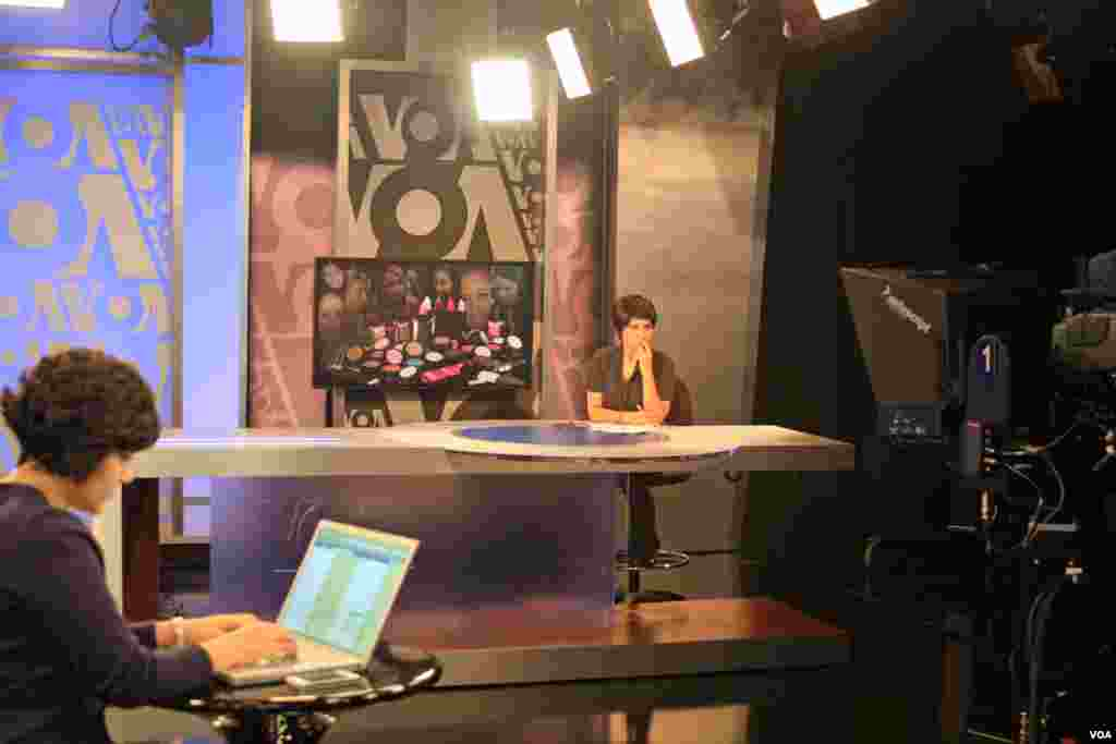 VOA studio 52 in use for Persian Service TV broadcast.