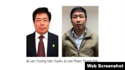 Ông Trương Văn Tuyến và ông Phạm Thanh Sơn. Photo: Bộ Công an
