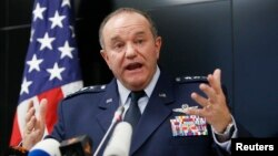 FILE - U.S. General Philip Breedlove, NATO Supreme Allied Commander Europe, speaks during a news conference in Kyiv, November 2014.