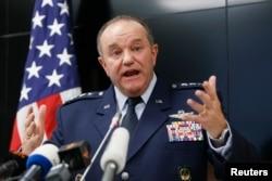 U.S. General Philip Breedlove, NATO Supreme Allied Commander Europe, speaks during a news conference in Kyiv, Nov. 26, 2014.