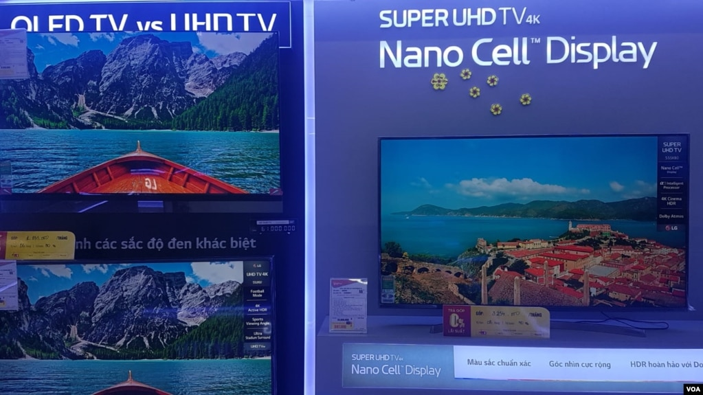 Nano and other smart technology are increasingly common in TVs in Vietnam, which hopes to make tech a bigger part of its economy. (Ha Nguyen for VOA)