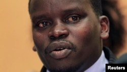 Audio executive Joshua Arap Sang named in an International Criminal Court (ICC) list of suspects, addresses a news conference in Nairobi in this December 16, 2010 file photo.