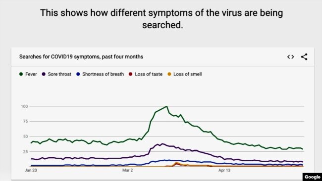 This graphic produced for Google Trends shows the top coronavirus symptom searches on the Google search engine. (Google)