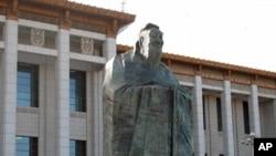 孔子誕辰2561週年北京舉行紀念活動﹐圖為座落於北京的孔子雕像