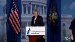 英国首相特雷莎.梅在美国费城发表讲话