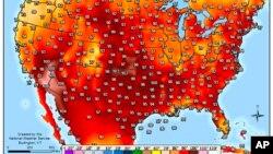 美国气象局提供的图片显示热浪中的美国气温(2016年7月22日)