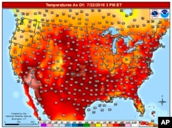 FILE - This image provided by the National Weather Service shows temperatures in the continental United States during a heat wave July 22, 2016.