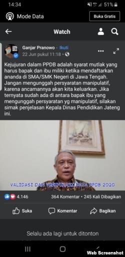 Video Kepala Dinas Pendidikan Jawa Tengah, Jumeri, yang diunggah di akun media sosial Gubernur Jawa Tengah Ganjar Pranowo, Senin, 22 Juni 2020. Jumeri memaparkan indikasi pemalsuan berkas pendaftaran di PPDB SMA/SMK Negeri Jawa Tengah. (Foto: Screenshot )